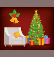 home place with christmas tree decoration vector image