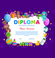 kids diploma for kindergarten with toys vector image