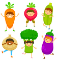 kids dressed like vegetables vector image
