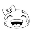 laugh emoji face with bowntie vector image vector image
