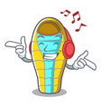 listening music sleeping bad mascot cartoon vector image