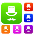 magic black hat and mustache set collection vector image vector image