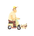Man On Scooter With Dog vector image vector image