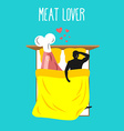 Meat lovers Love for ham Pork and man Food lovers vector image vector image