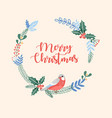 merry christmas circle greeting card with berries vector image vector image