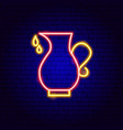 oil pitcher neon sign vector image