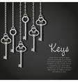 old silver keys hanging string vector image vector image
