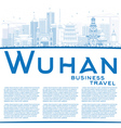 Outline Wuhan Skyline with Blue Buildings vector image vector image