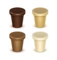 Plastic Container For Vanilla Chocolate Dessert vector image vector image