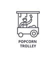 popcorn trolley thin line icon sign symbol vector image