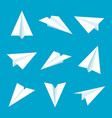 realistic handmade paper planes collection vector image