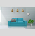 realistic interior sofa in living room modern vector image vector image