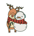 reindeer and snowman with scarf celebration merry vector image vector image