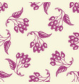 seamless pattern with berries and leaves vector image vector image
