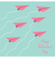 Six paper planes in the sky Happy Valentines Day vector image vector image