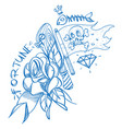 sketch of tattoo with a dagger and roses outline vector image vector image