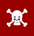 skull and crossbones sad emoji skeleton head vector image vector image