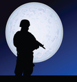 soldier in the moonlight color vector image