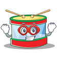 super hero toy drum character cartoon vector image vector image