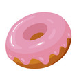 sweet donut icon fresh fried dough with pink vector image vector image