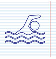 swimming water sport sign navy line icon vector image