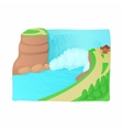 Waterfall landscape icon cartoon style vector image