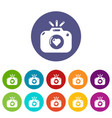 wedding photography icons set color vector image