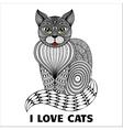 Zentangle sitting cat vector image