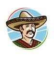 portrait of happy smiling mexican in sombrero vector image