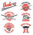 set of sushi labels japanese seafood samurai vector image