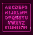 3d alphabet with neon effect vector image vector image