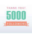 5000 followers thank you number with banner vector image vector image