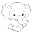 a children coloring bookpage cartoon elephant vector image