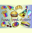 a large collection of food icons vector image