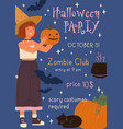 announcement childish happy halloween party vector image vector image