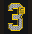athletic number 3 nyc vector image vector image