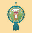 bear on dream catcher vector image vector image