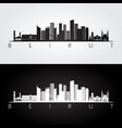 beirut skyline and landmarks silhouette vector image