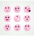 breast cancer awareness pink emoji face icon set vector image vector image