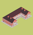 brick building hotel with brown roof isometric vector image vector image