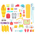 camping set mountain hike equipment kit tourism vector image