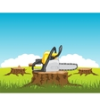 Chainsaw on stump tree vector image