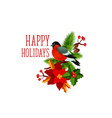 christmas bullfinch wreath greeting icon vector image vector image