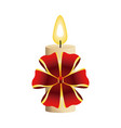 christmas candle burning with red bow decoration vector image vector image