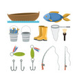 colorful set collection elements to fishing vector image