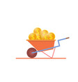 construction wheelbarrow full of gold dollar vector image vector image