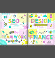 creative business banners with linear decor icons vector image vector image