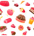 delicious desserts seamless pattern jelly cake vector image vector image