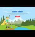 fishing season landing page template web page vector image