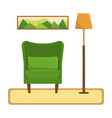 flat the interior of the living room armchair vector image vector image